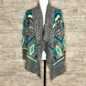 Roxy grey, yellow and green open cardigan